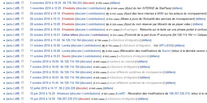L'historique des modifications de la page Wikipedia consacrée au micropaiement.