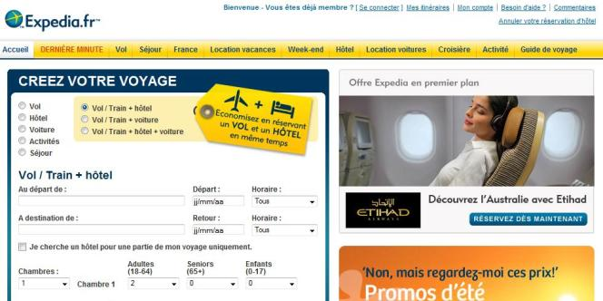 Le site Expedia.fr.