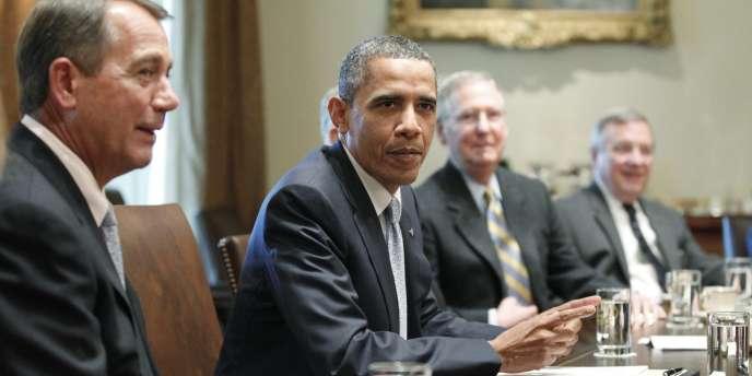 Le président américain, Barack Obama, a tenu, mercredi 13 juillet, une nouvelle réunion de négociations avec les représentants du Congrès pour s'accorder sur un relèvement du plafond de la dette américaine.