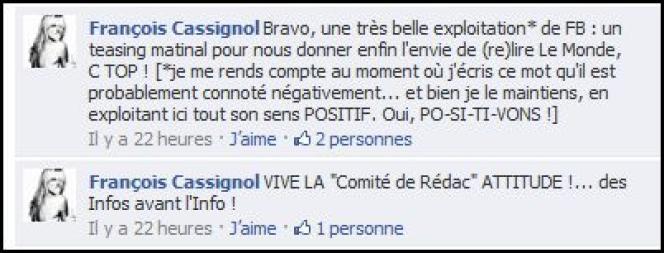 Commentaire du compte Facebook du Monde.fr