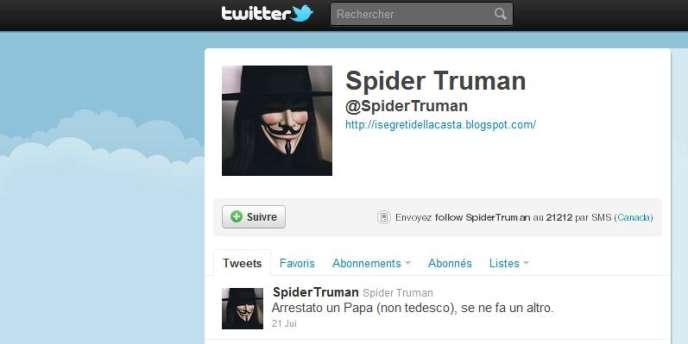 Le compte Twitter de Spider Truman, le