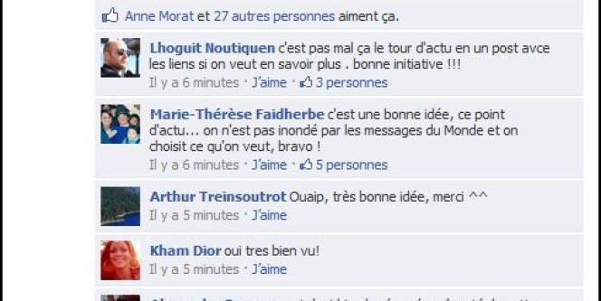 Commentaires sur la page Facebook du Monde.fr