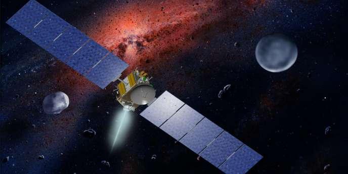 Vue d'artiste représentant la sonde américaine Dawn avec les astéroïdes Ceres et Vesta.