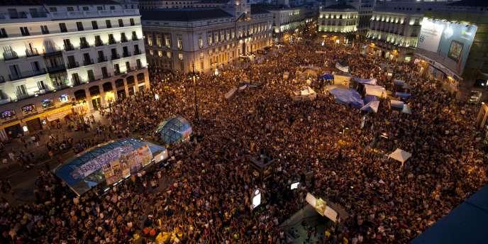 Manifestations à la Puerta del Sol de Madrid, le 23 juillet.