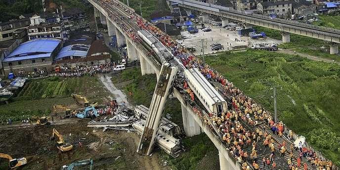 Deux trains étaient entrés en collision près de Wenzhou en Chine, le 23 juillet 2011.