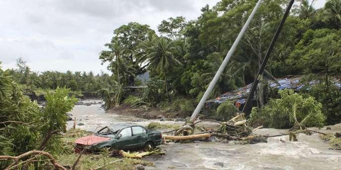 Le village de Daraga, dans le centre des Philippines, frappé par la tempête Nock-Ten.