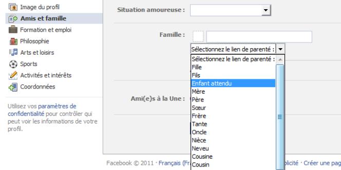 On peut désormais indiquer que l'on attend un enfant directement sur son profil Facebook.