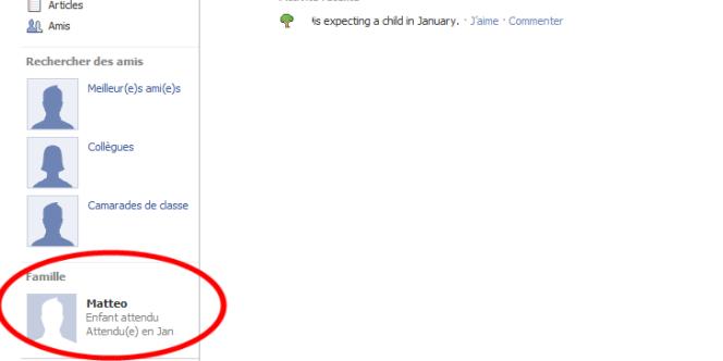 Le prénom du futur enfant et la date approximative de l'accouchement apparaissent sur la page Facebook de la personne.