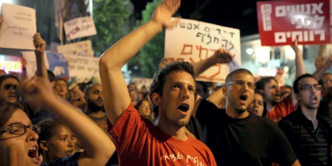 Manifestation à Jérusalem contre la vie chère, devant la résidence du premier ministre Benyamin Nétanyahou, le 30 juillet.