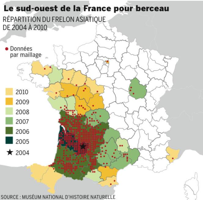 L'insecte a été découvert à Tonneins (Lot-et-Garonne), en 2004.