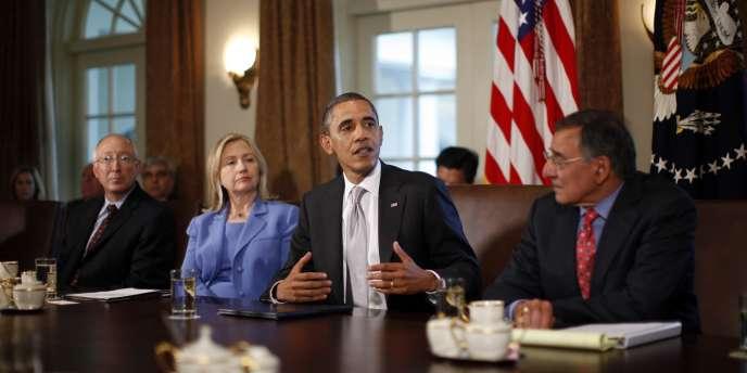 Barack Obama lors de la réunion de son cabinet à la Maison Blanche le mercredi 3 août 2011.