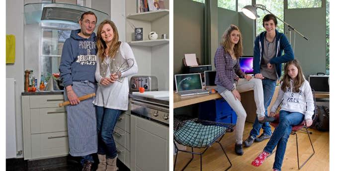 A gauche, Caroline et Emmanuel Manu posent dans leur cuisine, qu'ils adorent. A droit, leurs enfants : Zoé (18 ans), Clara (12 ans), Tom (15 ans) .