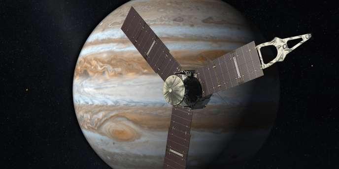 Image de synthèse montrant la sonde Juno en orbite autour de Jupiter.