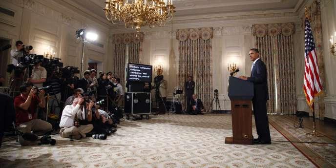 Le président américain, Barack Obama, lors d'une allocution à la Maison Blanche, le lundi 8 août 2011.