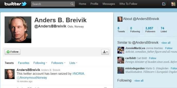 Le compte d'Anders B. Breivik après son piratage, fin juillet.