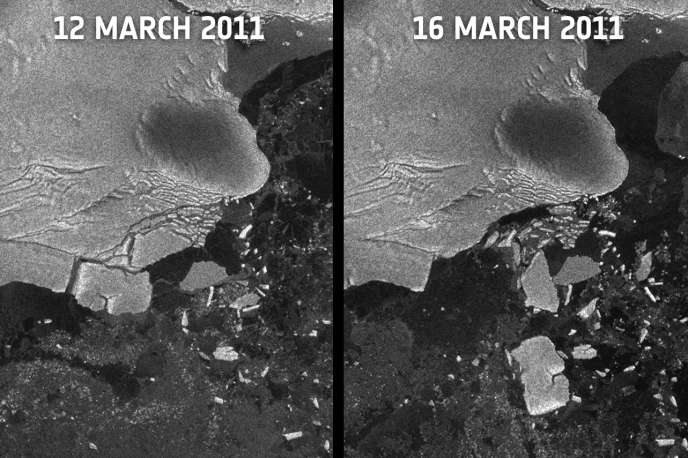 Les images prises le 12 mars (à gauche) et le 16 mars (à droite) par le satellite Envisat révèlent que des icebergs se sont détachés des plates-formes de glace qui prolongent la calotte glaciaire dans la baie de Sulzberger.