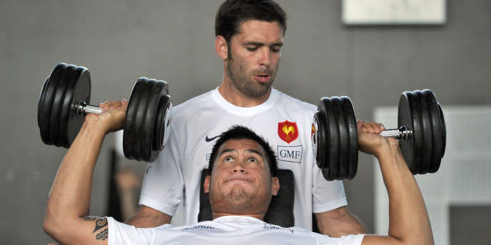 Raphaël Lakafia, à l'entrainement avec Dimitri Yachvili.