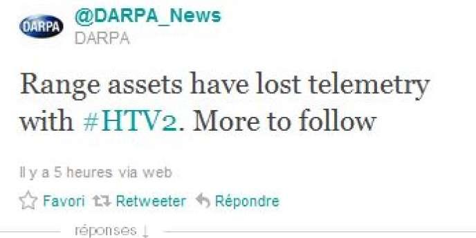 Le tweet de DARPA.