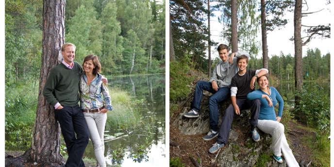 Toute la famille (comme tous les Norvégiens) a voulu poser dans la nature, auprès du lac à 5 min à pied de leur lotissement.
