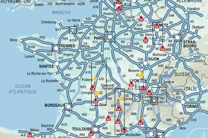 Carte du trafic en France à 12 heures, samedi 13 août.