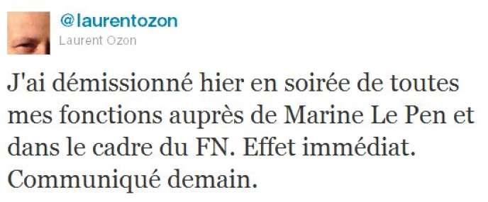 Laurent Ozon a annoncé sa démission de toutes ses fonctions au FN, dimanche.