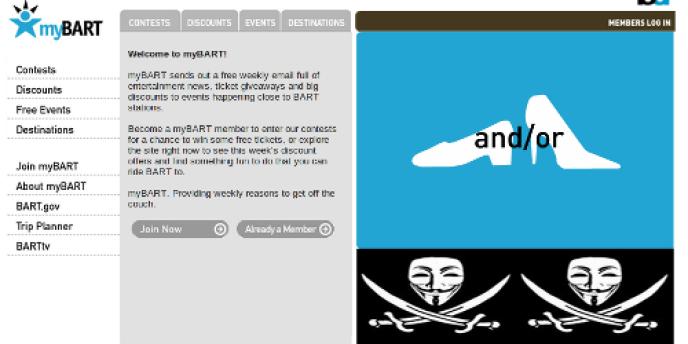 Le site défacé de MyBART.
