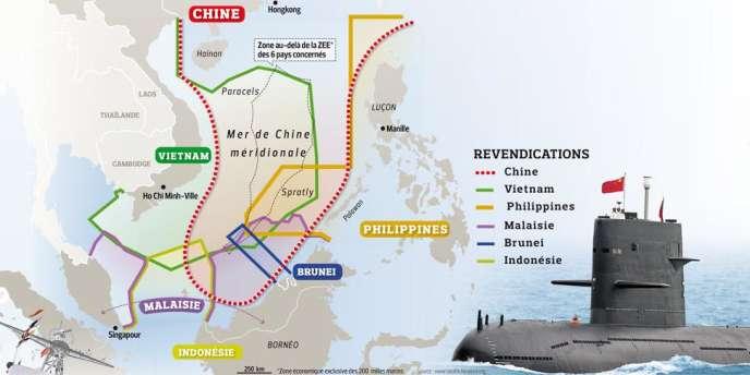 Carte représentant les revendications des pays riverains de la mer de Chine méridionale.