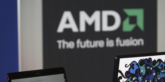Le logo du fabricant américain de microprocesseurs AMD, à Las Vegas en janvier 2009.