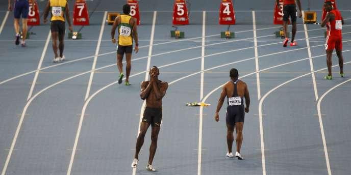 Usain Bolt lors des Mondiaux de Daegu en 2011, disqualifié de la finale du 100 m après un faux départ.