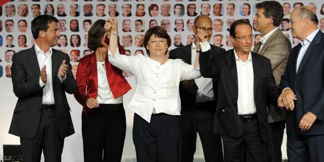 Les candidats à la primaire le 28 août lors de la clôture de l'université du PS à La Rochelle.