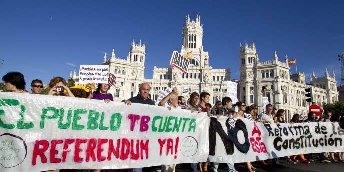 Manifestation contre les réformes du gouvernement espagnol, le 28 août 2011, à Madrid.