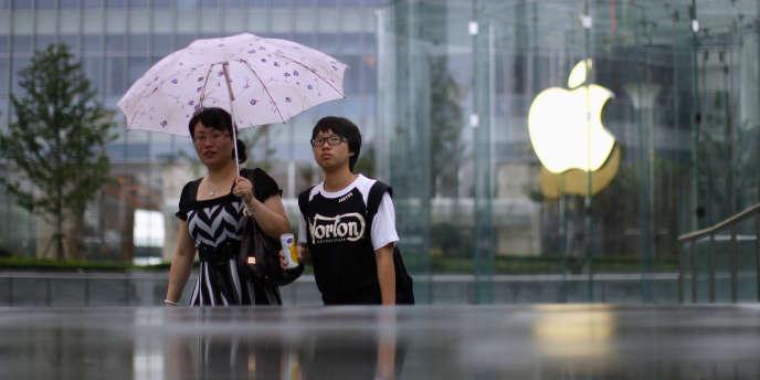 Des fournisseurs chinois de la firme Apple pratiquent des rejets toxiques. La façade de l'Apple Store de Shanghaï.