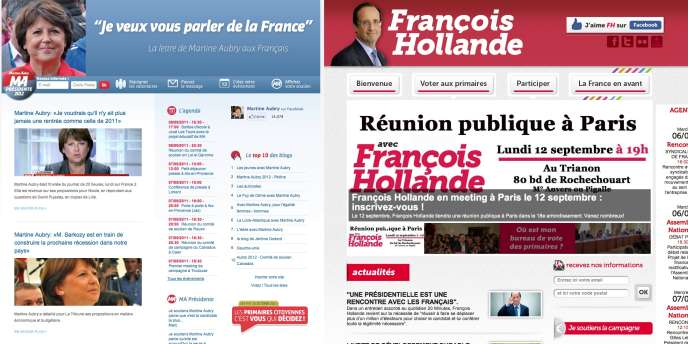 Captures d'écran des sites de Martine Aubry et François Hollande.
