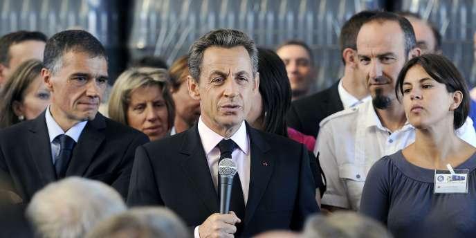 Nicolas Sarkozy, dans la Loire, à La Fouillouse près de Saint-Etienne, le 6 septembre 2011.