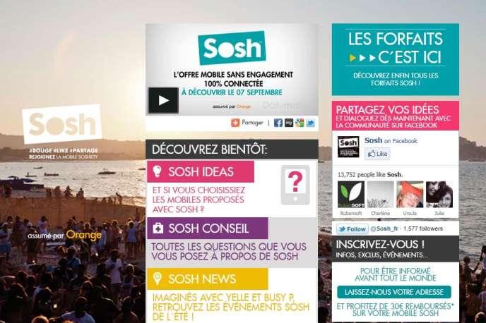 La marque Sosh sera commercialisée uniquement sur Internet. Capture d'écran du site sosh.fr.