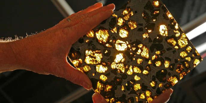La météorite de Fukang dans les mains de son propriétaire, Marvin Kilgore, le 30 avril 2008.