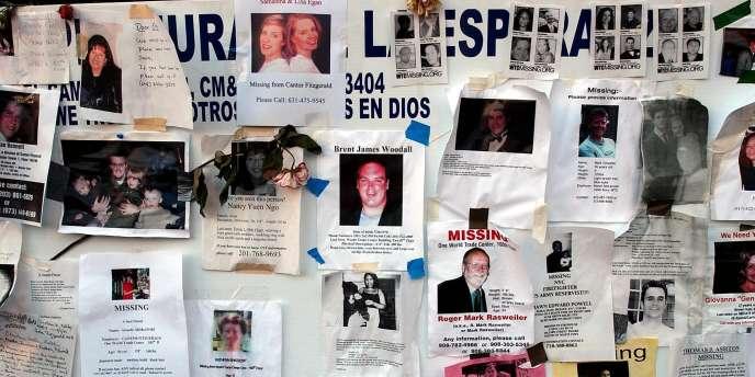 Des portraits de victimes des attentats du World Trade Center à New York, le 19 septembre 2011.