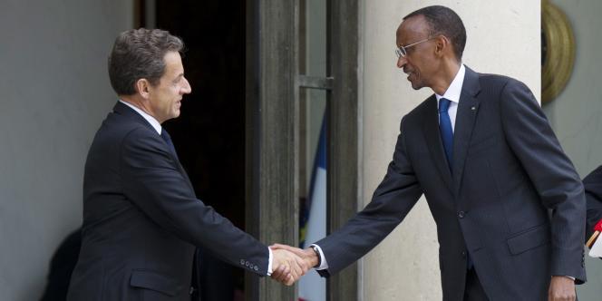 Nicolas Sarkozy, lundi 12 septembre à l'Elysée, avec le président rwandais, Paul Kagame.