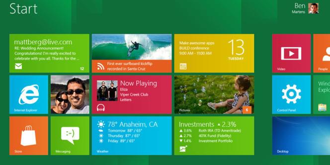 La page de démarrage de Windows 8.