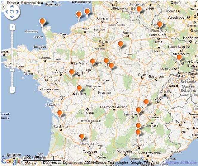 Carte des 19 centrales nucléaires françaises, abritant 58 réacteurs.