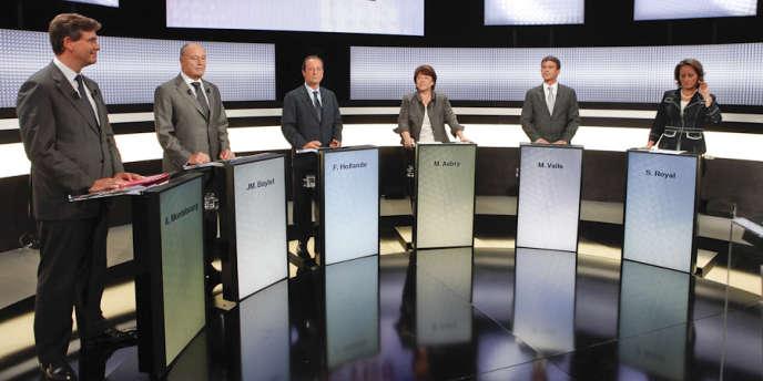 Les six candidats à la primaire socialiste, lors du premier débat sur France 2, le 15 septembre.