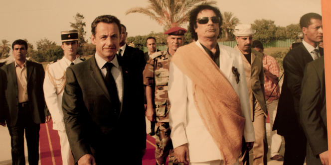 Première visite de Nicolas Sarkozy en Libye, le 25 juillet 2007.