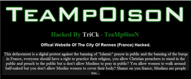 Le message laissé sur le site de la ville de Rennes.