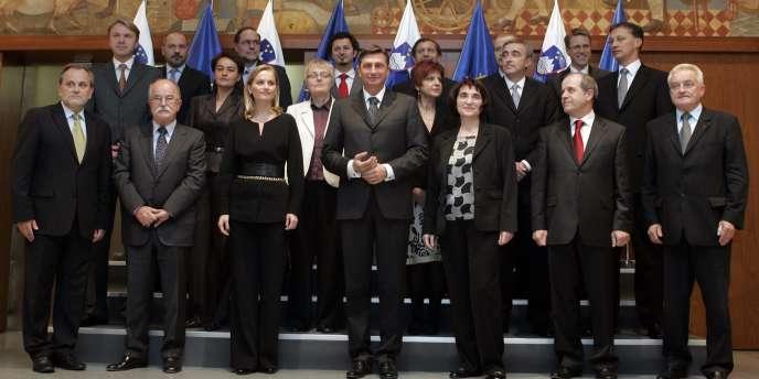 Borut Pahor et son équipe, en 2008.