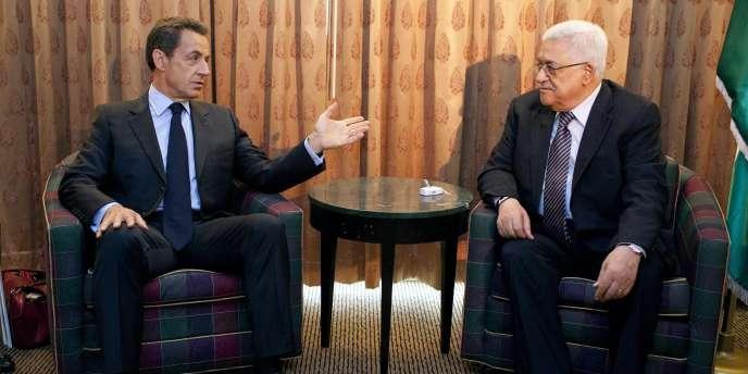 Nicolas Sarkozy et Mahmoud Abbas, le 20 septembre 2011, à New York.
