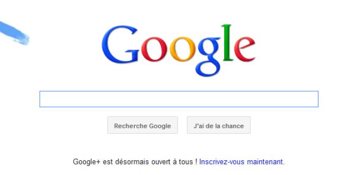 La page d'accueil de Google.