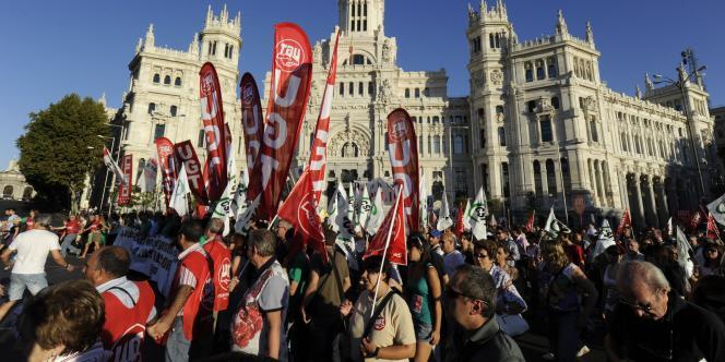La manifestation des enseignants, à Madrid, mardi 20 septembre.