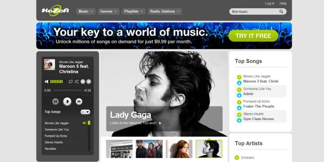 La page d'accueil de Kazaa.