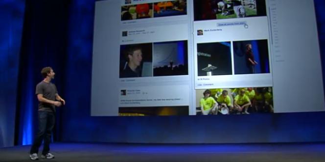 Le fondateur de Facebook, Mark Zuckerberg, présente la Timeline durant la conférence F8.