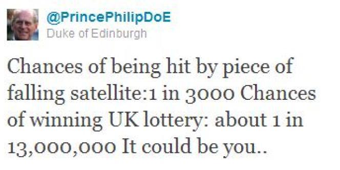 Une chance sur 3 000 d'être heurté par un bout de satellite ; une chance sur 13 000 000 de gagner à la loterie britannique. Ça pourrait être vous…